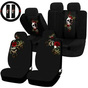 22pc Fragrant Elegance Red Flowers Skull Seat Covers Steering Wheel Universal