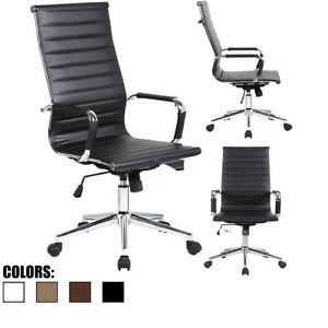 Office Chair Pu Leather With Arms Wheels Swivel Tilt Adjustable Seat High Back