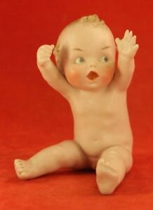 Antique Heubach Piano Baby Rare Waving Boy Bisque Character Figurine