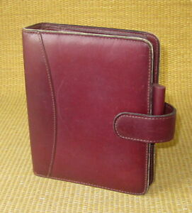 Compact 1 Rings Burgundy Leather Franklin Covey quest Section Planner binder
