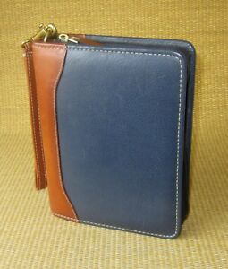 Compact 1 25 Rings Blue brown Leather Franklin Covey quest Zip Planner binder