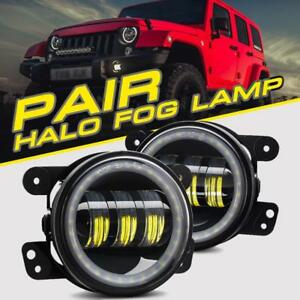 Pair 60w Cree Led Halo Fog Light Drl Ring Lamps 6000k For 07 18 Jeep Wrangler Jk