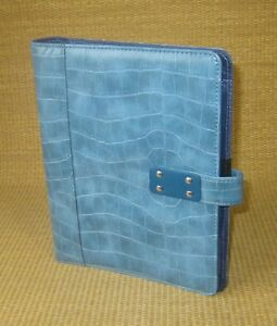 Classic desk 1 Ring Blue Sim Leather Croc Day timer Open Planner binder