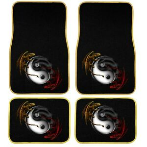 4 Piece Yin Yang Dragons Red Yellow Carpet Mats Front Rear Universal Car Truck