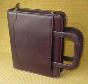 Classic 2 Rings Burgundy Leather Franklin Covey quest Zip Planner binder