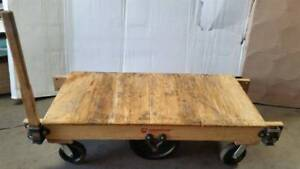 Antique Hamilton Wood Iron Industrial Railroad Factory Cart Coffee Table Ohio