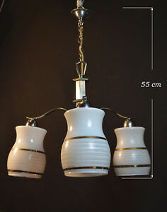 Elegant 1940s Art Deco Three Arm Chandelier Gilt Opaline Milk Glass Shades