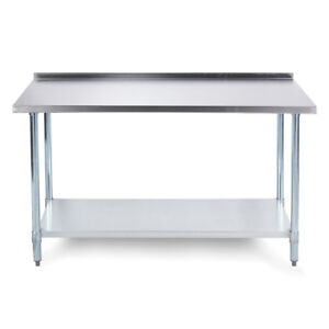 72 X 24 18 Gauge Stainless Steel Kitchen Utility Work Table W Backsplash