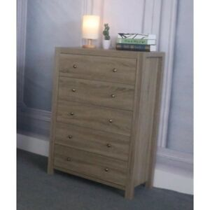 Spacious 5 Storage Drawers Chest With Metal Glides