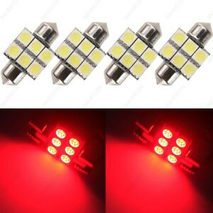 4 X Red 31mm 5050 6smd Dome Map Interior Led Light Bulbs De3175 De3022 Tool