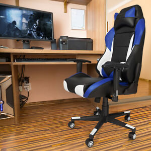 Swivel Racing Style Gaming Computer Chair High Back Leather Office Seat Cushion