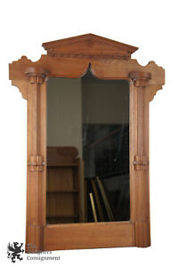 Late Victorian Antique Eastlake Walnut Carved Hanging Parlor Dresser Mirror 36