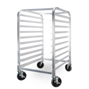 Mobile 10 Tier Sheet Aluminum Bakery Bun Pan Kitchen Rack W Brake Wheels