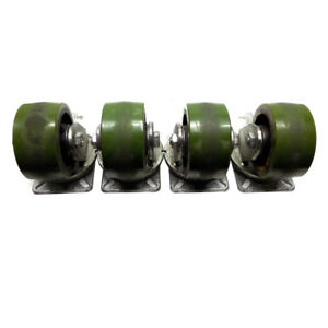lot Of 4 Albion Industrial Casters 6 X 3 Galvanized Steel Heavy Duty Locking