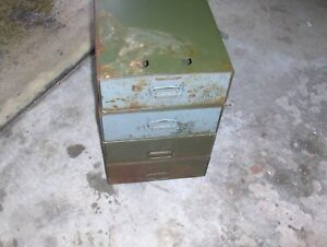 Vintage Safe ty stak Chicag Metal Cabinet Drawer Steel Storage Bin Organizer