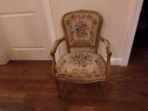 Antique French Needlepoint Fauteuil Louie Xv Hand Carved Arm Chair Beautifull