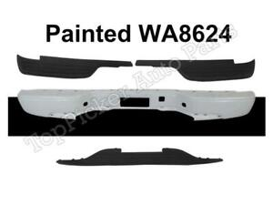 Painted White Rear Bumper Top Lower Pads For 99 07 Silverado 1500 Fleetside
