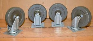 4 Bassick Casters 750 Lb Wheels 2 Swivel Industrial Steam Punk Machinery Lot