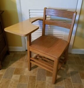 Vintage All Wooden School Desk Chair