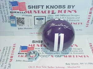 2005 2014 Mustang Custom Rally Licenced Shift Knob purple W White Stripe