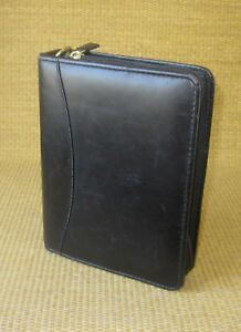 Compact 1 25 Gold Rings Black Leather Franklin Covey quest Zip Planner binder