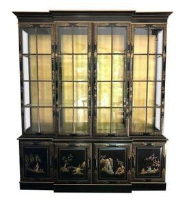 Mid Century Modern Black Gold Union National Dining Breakfront China Cabinet