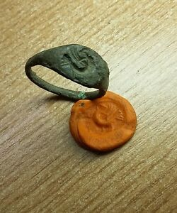 Wonderful Ancient Roman Bronze Seal Ring Size 20mm Us 10 2804