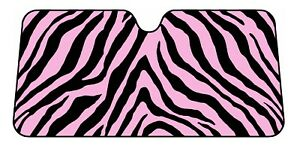 Black And Pink Safari Zebra Print Windshield Sun Shade Visor Auto Car Truck Suv