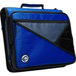 Blue 2 inch Zipper 3 Ring Binder 13 Inch Laptop Case Shoulder Strap Bag Student
