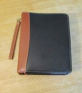 Classic 1 5 Black brown Top Grain Leather Franklin Covey Quest Zip Planner