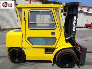 Komatsu Fd40zt 7 8 000lbs Forkift Truck Fork Positioners Enclosed Cab