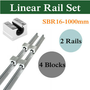 16mm Sbr16 L1000mm Linear Bearing Rail Fully Supported With 4pcs Sbr16uu Block