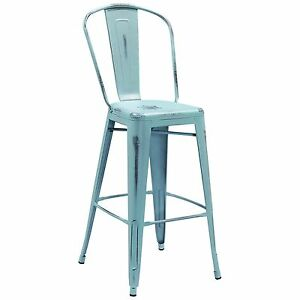 Tolix Style Metal Outdoor Distressed Blue Industrial Restaurant 30 Bar Stool