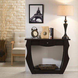 Clay Alder Home Four Bears Unique Cut out Walnut Console Table