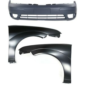 Bumper Cover Kit For 2005 2007 Ford Focus Front Bumper Cover And Fender 3pc