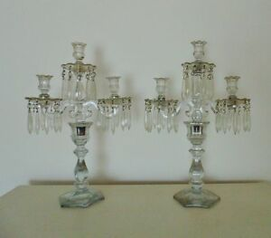 Antique Heisey Candelabra Glass Candle Holders W Prisms Lusters Pair