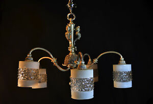 Chandelier Art Nouveau Vintage Silver Plated Antique French 1930 5 Opaline Shade