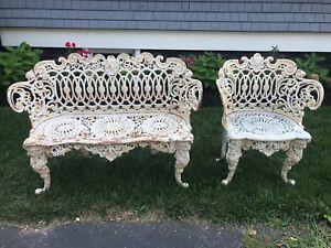Classical Style Ornate Cast Iron Settee Chair Garden Set