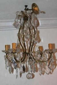 French Louis Xv Style Baccarat Crystal Bronze Cage Frame 19thc Chandelier