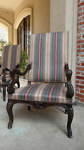 Antique French Carved Walnut Arm Dining Chair Louis Xv Fireside Library