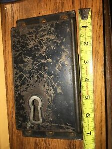 Large Antique Vintage Deadbolt No Keeper Or Key Lock Only Large Keyhole