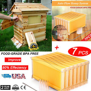 7pcs Automatic Flow Raw Frame Honey Beekeeping Beehive Frames super Brood Boxes