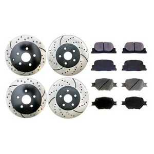 Front Rear Drilled Slotted Brake Rotors And Ceramic Pads Fits 05 10 Scion Tc