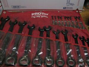 Proto 20 Pc Anti Slip Metric Combo Wrench Set 7 32 mm 1 1 2 Made In Usa