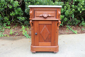 Fancy Walnut Victorian Marble Top Half Commode Nightstand Cabinet Ca 1870