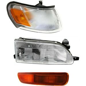 Headlight Kit For 1993 1997 Toyota Corolla Right 3pc