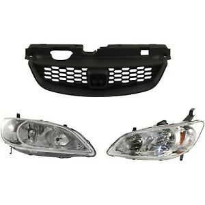 Grille Assembly Kit For 2004 2005 Honda Civic 3pc