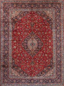 Great Condition Floral Red 10x14 Kashan Persian Oriental Area Rug 13 6 X 9 9