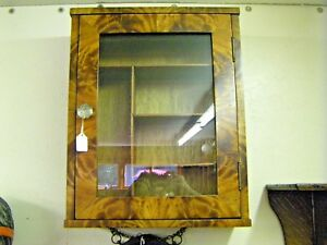 Vintage Wood And Glass Wall Medicine Display Cabinet