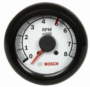 Bosch 2 5 8 Inch Mini Super Tachometer White Black Bezel 0 8000 Rpm Fst7904